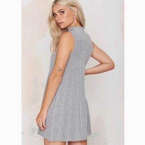 UNIF Heather Gray Pleated Sleeveless Dress XS